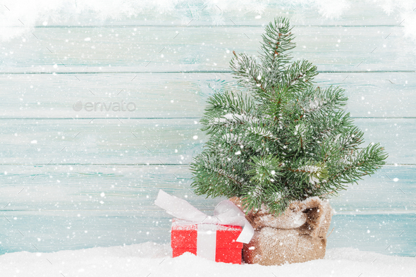 Christmas card with fir tree and gift box - Stock Photo - Images