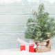 Christmas card with fir tree and gift box - PhotoDune Item for Sale