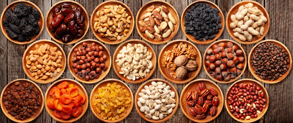 Various dried fruits and nuts - Stock Photo - Images