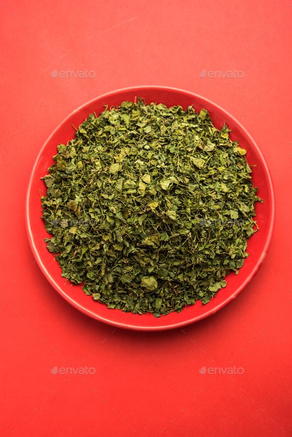 Feugreek Leaves dried or Kasuri methi - Stock Photo - Images
