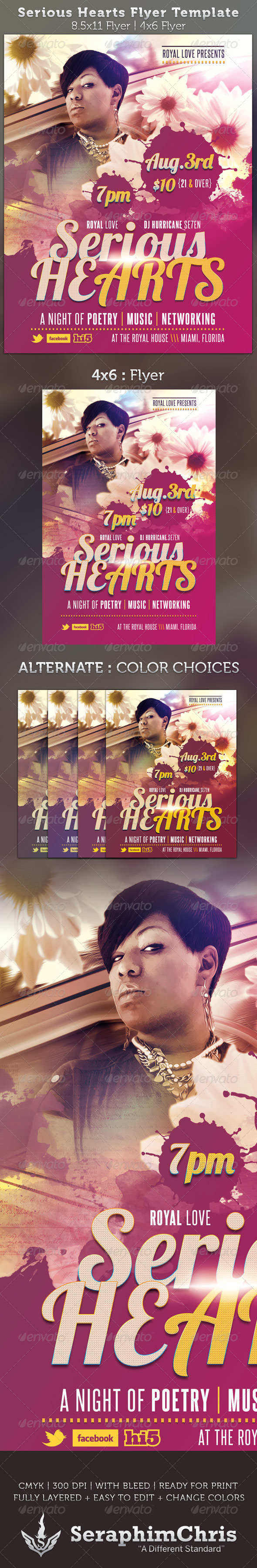 Serious Hearts Flyer Template - Events Flyers