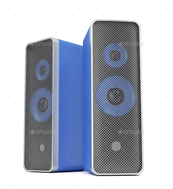 Blue stereo speakers - Stock Photo - Images
