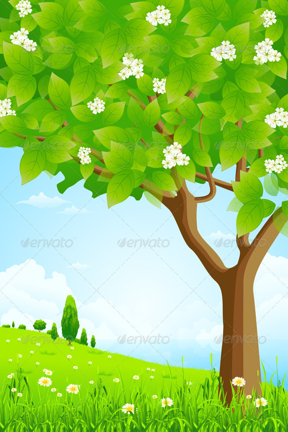Green Background with Trees and Sea - Landscapes Nature