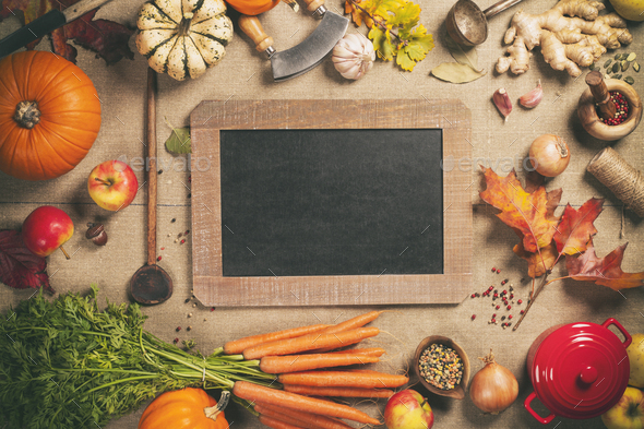 Healthy food cooking background, top view, copy space - Stock Photo - Images