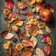 Autumn leaves, fruits and spices over green vintage background - PhotoDune Item for Sale