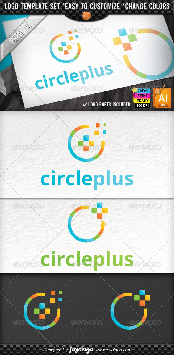Cube Circle Pixel Media Plus Logo Design Package - Symbols Logo Templates