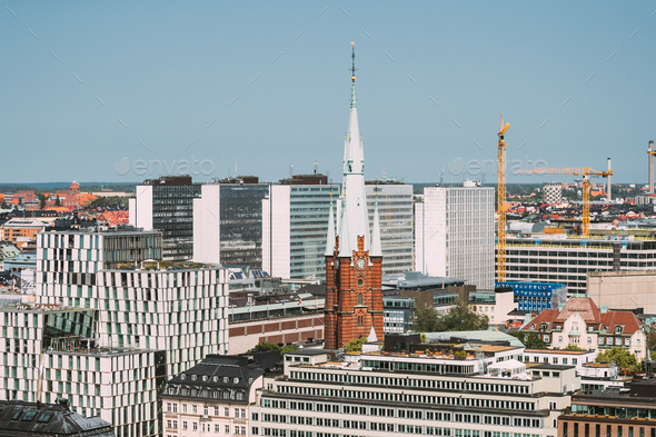 Stockholm, Sweden. Elevated View Of St. Clara Or Saint Klara Church In Summer Sunny Modern Cityscape - Stock Photo - Images