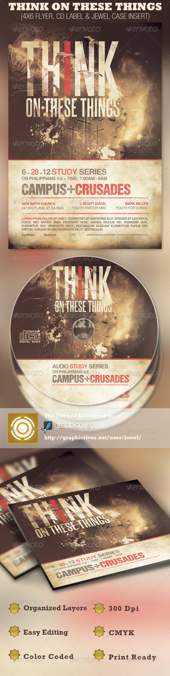 Think on These Things Church Flyer and CD Template - Church Flyers