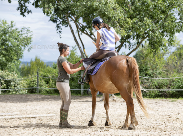 riding girl and horse - Stock Photo - Images