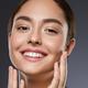 Woman smile fashion make up tanned skin beautiful smile clean skin natural make up dark background - PhotoDune Item for Sale