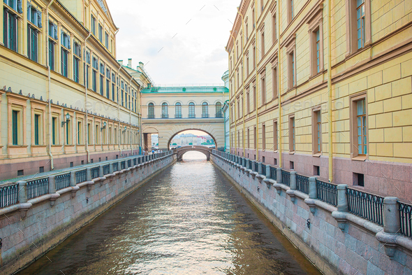 View of canal in beautiful city in Saint Petersburg. Buildings from both sides of the river - Stock Photo - Images