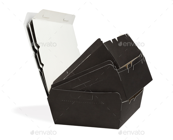 Empty Takeaway Paper Boxes - Stock Photo - Images