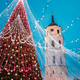 Vilnius, Lithuania. Christmas Tree On Background Bell Tower Belfry Of Vilnius Cathedral In Evening - PhotoDune Item for Sale