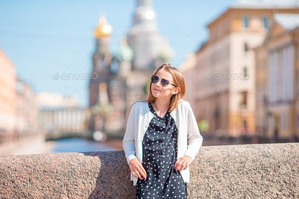 Cute girl in Sankt Petersburg in Russia - Stock Photo - Images