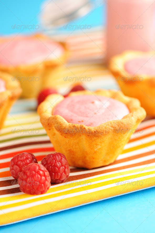 Cake with raspberry yogurt dessert - Stock Photo - Images