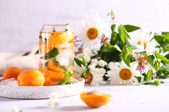 Lemonade with Fresh Apricots - Stock Photo - Images