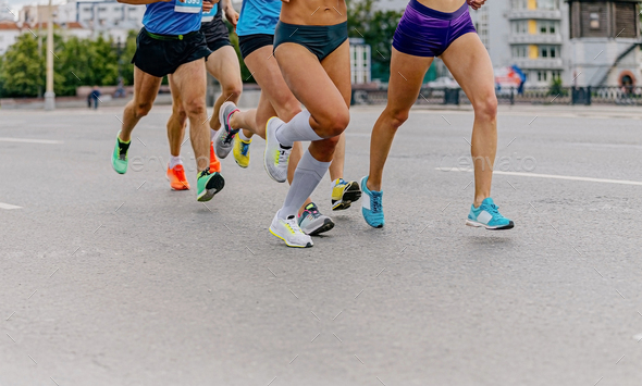 legs runners athletes women and men - Stock Photo - Images