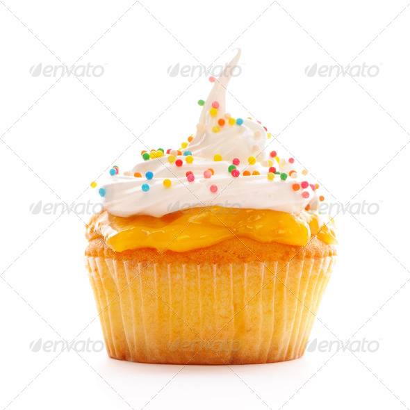 Cupcake with whipped cream - Stock Photo - Images