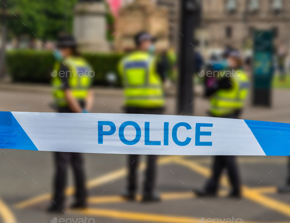 Glasgow Police At An Incident - Stock Photo - Images