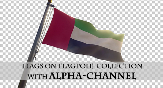 Flags on a Pole with Alpha-Channel