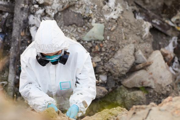 Biologist taking samples of rocks - Stock Photo - Images