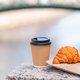 Traditional breakfast of coffee and fresh croissant outdoors - PhotoDune Item for Sale