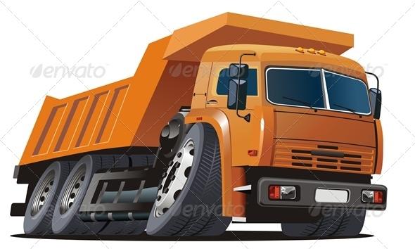 Vector Cartoon Dump Truck - Man-made Objects Objects