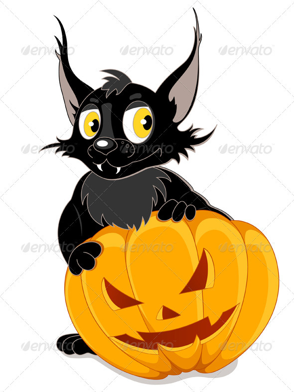 Black Bat and Halloween Pumpkin - Halloween Seasons/Holidays