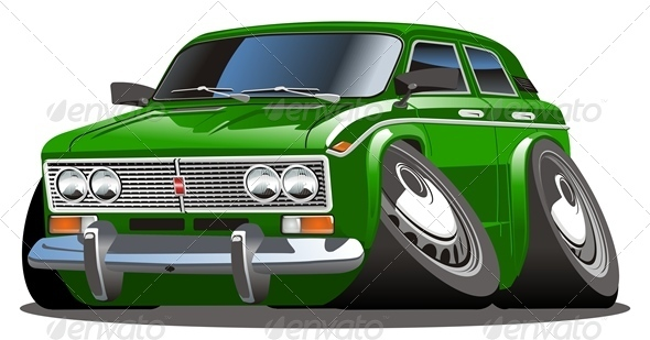 Vector Retro Cartoon Car - Man-made Objects Objects