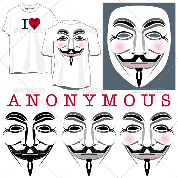 Anonymous Faces in Black, Color and T-shirts - People Characters