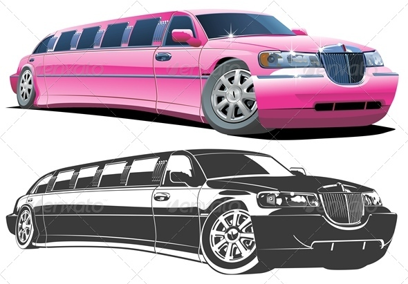Vector Cartoon Limousines Set - Man-made Objects Objects