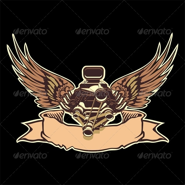 Vector Engine with Wings - Tattoos Vectors