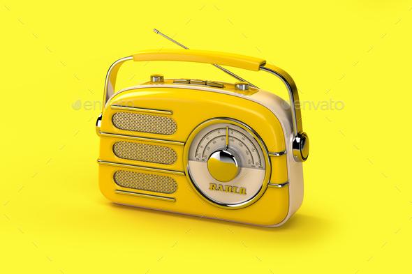 Yellow vintage radio on yellow background. - Stock Photo - Images