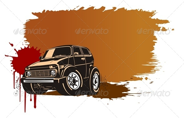 Vector Grunge Background with Jeep - Backgrounds Decorative