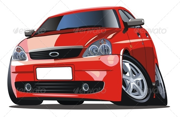 Vector Modern Cartoon Car - Man-made Objects Objects