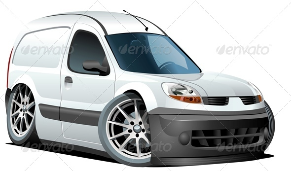 Vector Cartoon Delivery Van - Man-made Objects Objects