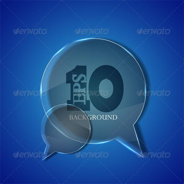 Vector circle glass bubble speech on blue backgrou - Backgrounds Business
