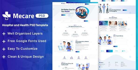 Mecare – Hospital and Health PSD Template
