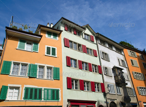 Typical old houses in Zurich - Stock Photo - Images