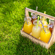 Assortment of lemonade and ice tea in bottles in wooden rack in the grass - PhotoDune Item for Sale