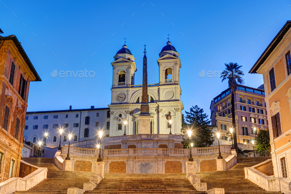 The Trinita dei Monti church and the famous Spanish Steps - Stock Photo - Images
