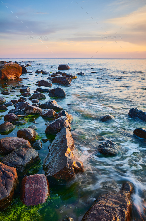 Baltic Sea coast with rocks in water at sunset. - Stock Photo - Images