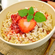 Oatmeal with strawberry-rhubarb sauce on board - PhotoDune Item for Sale