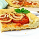 Pie with onions and tomatoes in white plate on light board - PhotoDune Item for Sale