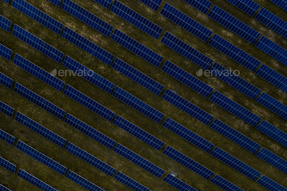 Aerial top view of a solar panels power plant - Stock Photo - Images