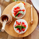 Grilled camembert cheese with strawberry, honey and basil leaves, delicatessen - PhotoDune Item for Sale