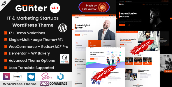 Gunter - IT & Marketing Startup WordPress Theme