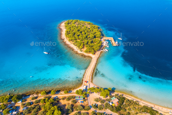 Aerial view of beutiful small island in sea bay at sunny day - Stock Photo - Images