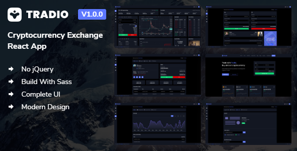 Tradio - Cryptocurrency Exchange React App Dashboard + Landing Page