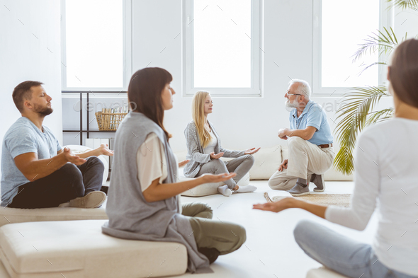 Meditating during session - Stock Photo - Images